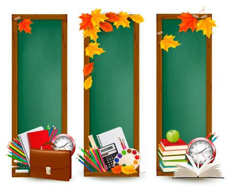 buchhandlung: Back to school Drei Banner mit Schulmaterial und Herbstlaub
