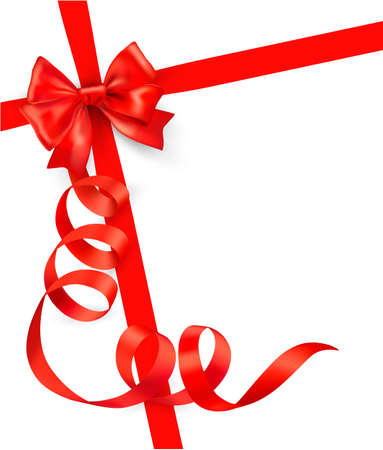 christmas ribbon:  Card with red gift bow with ribbons