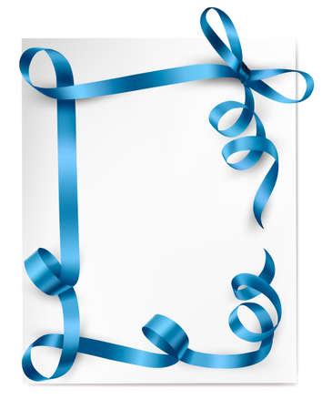 blue silk: Christmas background with blue gift bow with blue ribbons Illustration