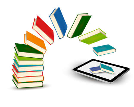 the reader:  Books flying in a tablet illustration  Illustration