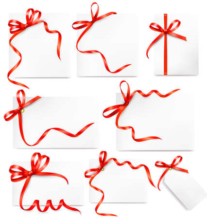 Set of card notes with red gift bows with ribbons Stock Vector - 15039494
