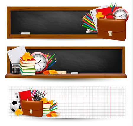 Retour à l'école Trois bannières de fournitures scolaires et feuilles d'automne Vecteurs