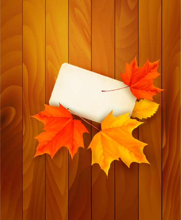 Card with leaves on wooden background Vector