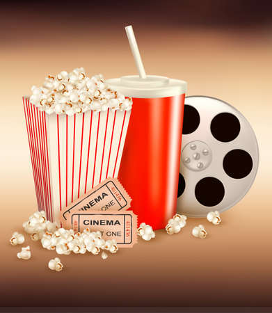 Popcorn and a drink and two tickets illustration  Vector