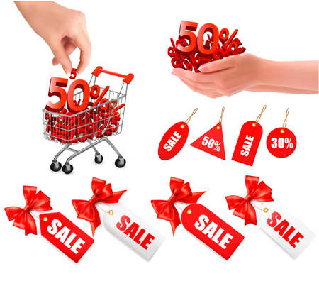 discount coupon: Set of sales tags with red gift bow and shopping carts with sale