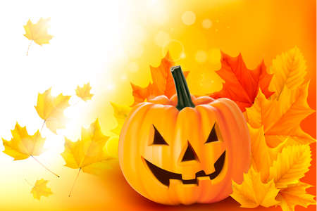 pumpkin leaves: Scary Halloween pumpkin with leaves  Vector