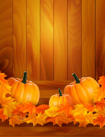 fall harvest: Pumpkins on wooden background with leaves  Autumn background  Vector
