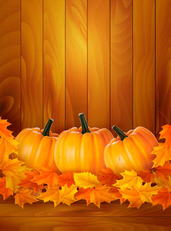 Pumpkins on wooden background with leaves  Autumn background  Vector  Vector