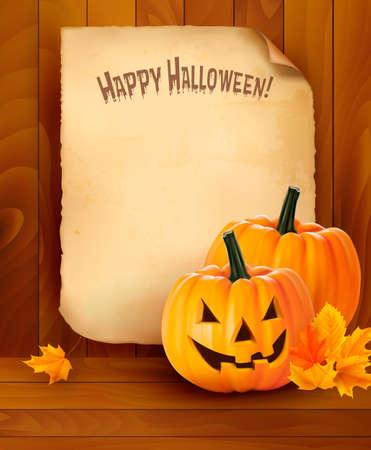 calabazas de halloween: Fondo de Halloween con vector de papel viejo Vectores