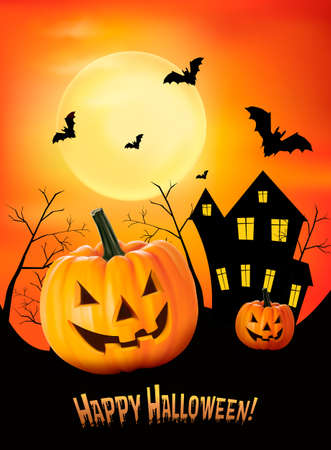 emotion faces: Halloween background  Vector  Illustration