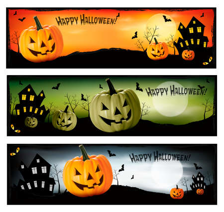 Three Halloween banners  Vector  Vector