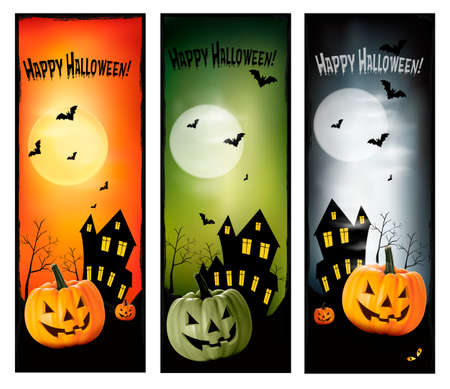 Three Halloween banners  Vector  Stock Vector - 15176774