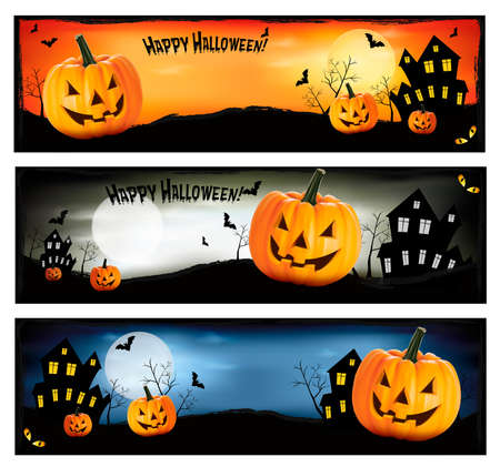 cat: Three Halloween banners  Vector  Illustration
