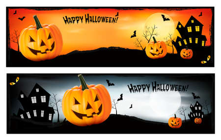 Two Halloween banners  Vector Stock Vector - 15176773