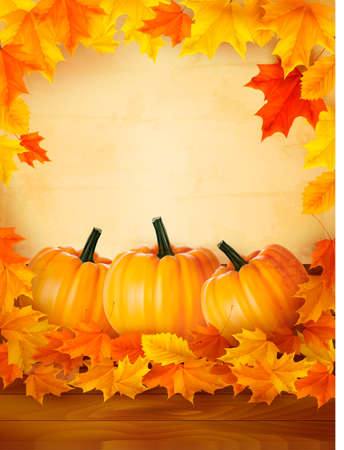 Pumpkins on wooden background with leaves. Autumn background. Vector. Stock Vector - 15176783
