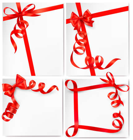 ribbon red: Set of holiday background with red gift bow with red ribbons. Vector