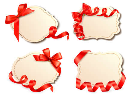 Set of old cards with red gift bows with ribbons Vector Stock Vector - 15176782