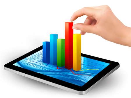 staaf diagram: Tablet scherm met grafiek en een hand. Vector.