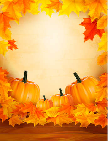 Pumpkins on wooden background with leaves  Autumn background  Vector Stock Vector - 15514092