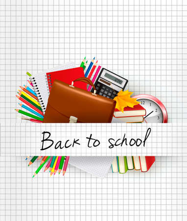 School supplies on a paper  Education background  Vector  Vector