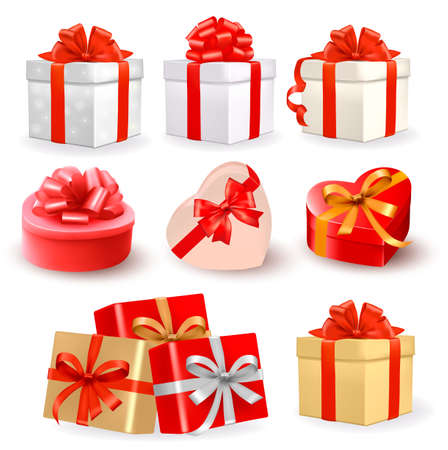 present: Set of colorful vector gift boxes with bows and ribbons  Illustration