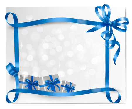 Holiday background with blue gift bow with gift boxes  Vector Stock Vector - 15514075