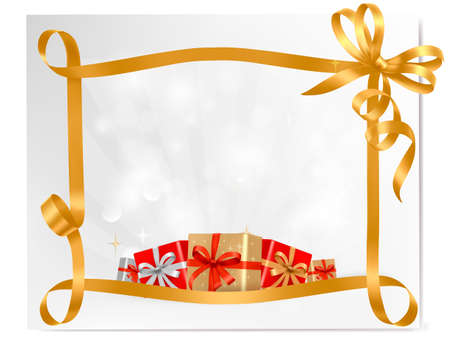 Holiday background with gift bow with gift boxes  Vector Vector