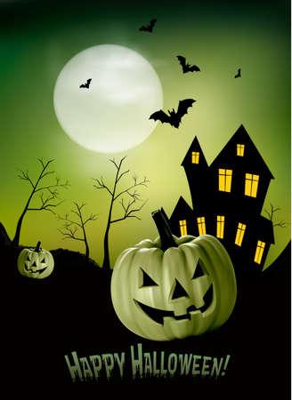 terribly: Halloween background  Vector Illustration