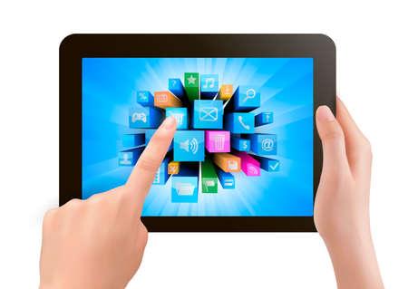 toque: M�o segurando toque pc pad eo dedo toc�-lo Ilustra��o