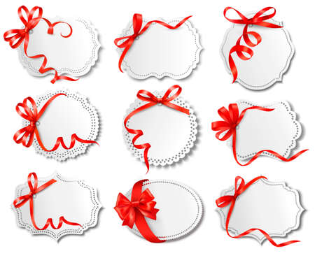 ribbon: Set of beautiful cards with red gift bows with ribbons Vector