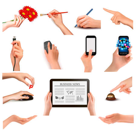 hand holding phone: Set of hands holding different business objects  Vector illustration