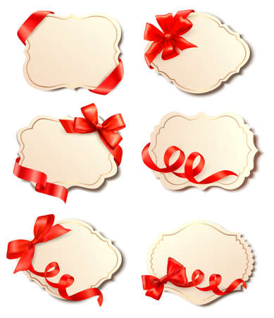 paper tags: Set of beautiful cards with red gift bows with ribbons Vector
