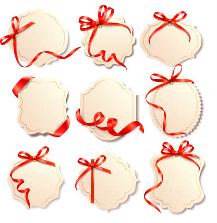 Set of beautiful cards with red gift bows with ribbons Vector Stock Vector - 15514083