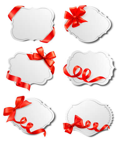 Set of beautiful cards with red gift bows with ribbons Vector Stock Vector - 15514086