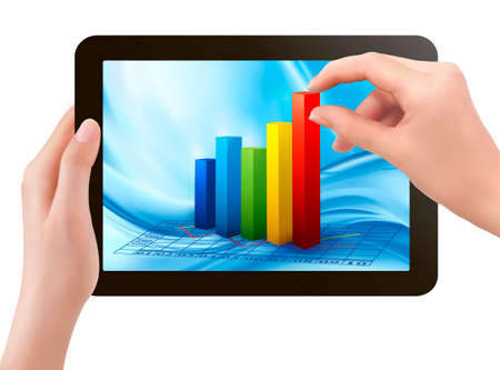 Tablet screen with graph and a hand. Vector. Vector