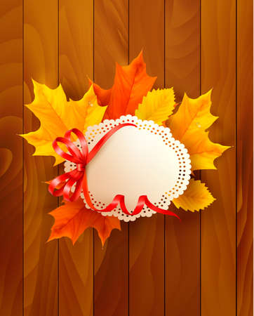 Card with leaves with a bow on wooden background. Vector. Vector