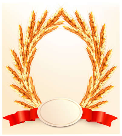 Ears of wheat with label. Vector