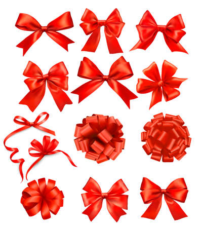 Big set of red gift bows with ribbons  Illustration