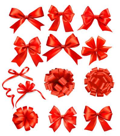 navidad elegante: Gran conjunto de arcos de regalo con cintas rojas Vectores