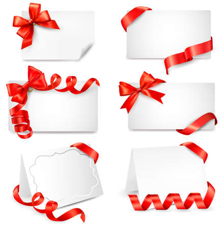 decorate: Set of beautiful cards with red gift bows with ribbons  Illustration