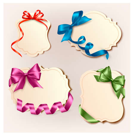 Set of beautiful cards with colorful gift bows with ribbons  Vector