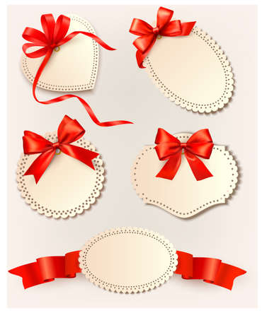 Set of beautiful tags with red gift bows with ribbons Stock Vector - 15400391