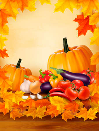 Autumn vegetable on wooden background with leaves Vector