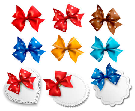 Big collection of colorful gift bows and labels Illustration