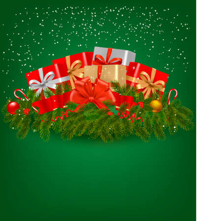 Christmas background with presents and a ribbon Stock Vector - 15548869