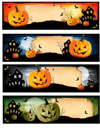 halloween cat: Four Halloween banners