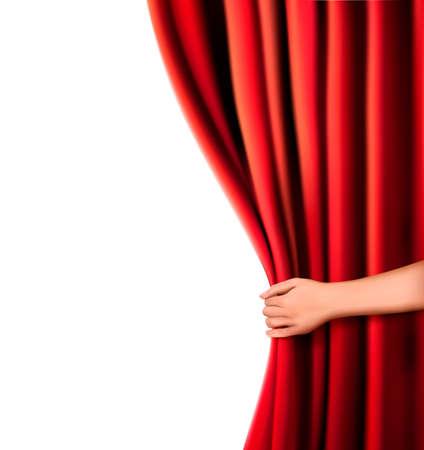 curtain theater: Fondo con la cortina de terciopelo rojo y la mano Vectores