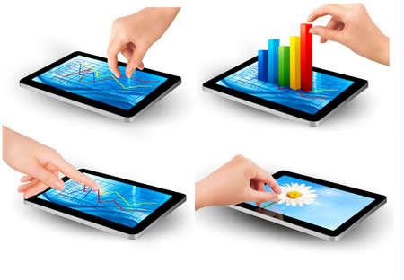 planning diagram: Set di schermo del Tablet PC con grafico e una mano Vettoriali