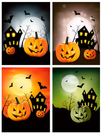 house party: Four Halloween banners.  Illustration