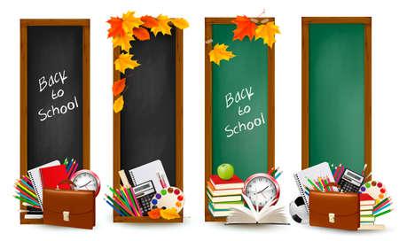 Volver a school.Four banderas con los útiles escolares y las hojas de otoño.